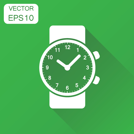 動画再生アイコン。ビジネス コンセプトの時計のピクトグラム。長い影と緑の背景のベクトル図。