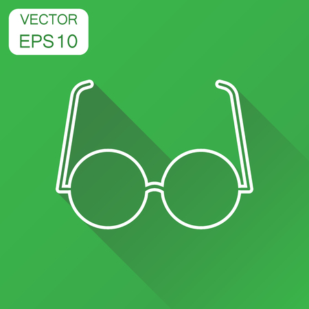 Sunglasses icon. Business concept eyewear pictogram. Vector illustration on green background with long shadow. Vectores