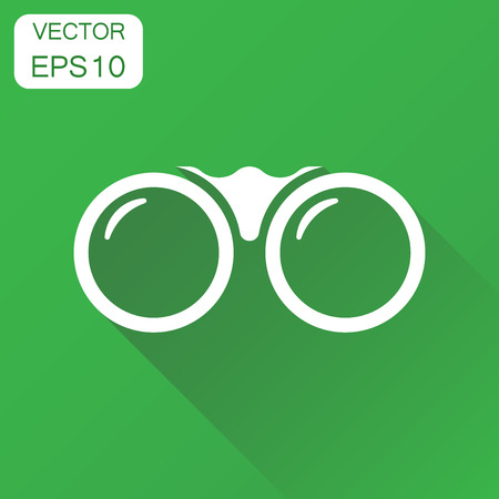 Binocular icon. Business concept binoculars explore pictogram. Vector illustration on green background with long shadow. Ilustracja
