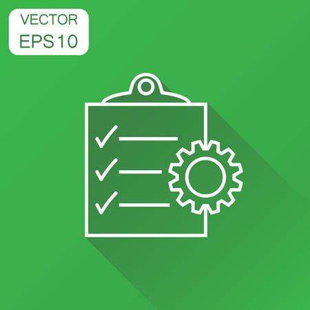 Documentpictogram. Business concept project management pictogram. Vectorillustratie op groene achtergrond met lange schaduw. Stock Illustratie