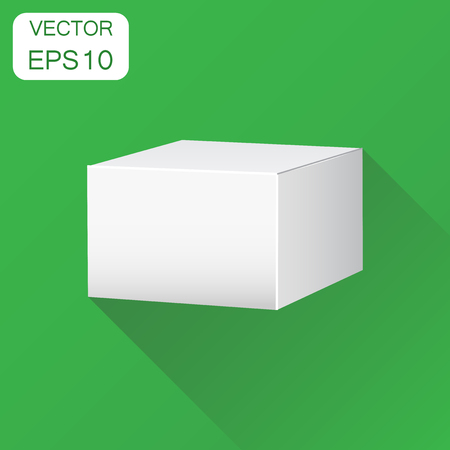 Blank white carton 3d box icon. Business concept box package mockup pictogram. Vector illustration on green background with long shadow. Ilustração