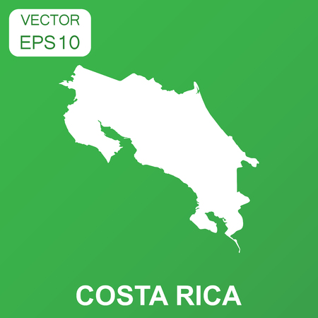 Costa Rica map icon. Business concept Costa Rica pictogram. Vector illustration on green background.