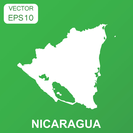 Nicaragua map icon. Business concept Nicaragua pictogram. Vector illustration on green background. Illustration