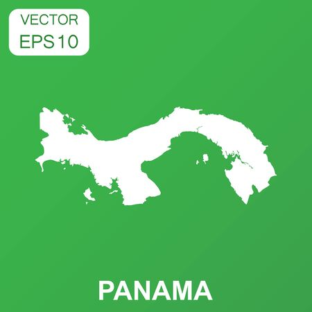 Panama map icon. Business concept Panama pictogram. Vector illustration on green background.