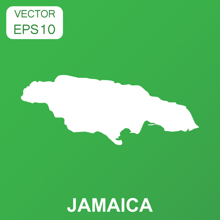 Jamaica map icon. Business concept Jamaica pictogram. Vector illustration on green background. Illustration