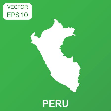 Peru map icon. Business concept Peru pictogram. Vector illustration on green background.