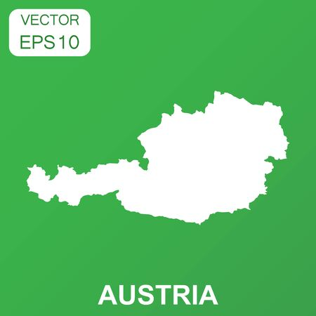 Austria map icon. Business concept Austria pictogram. Vector illustration on green background.