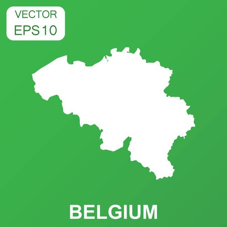 Belgium map icon. Business concept Belgium pictogram. Vector illustration on green background.