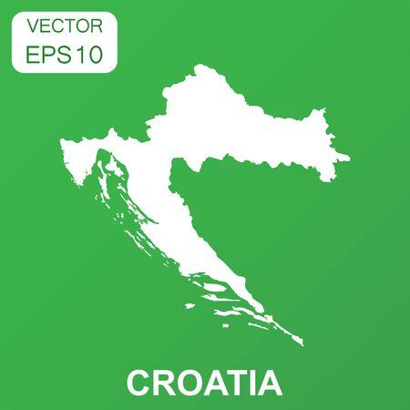 Croatia map icon. Business concept Croatia pictogram. Vector illustration on green background.