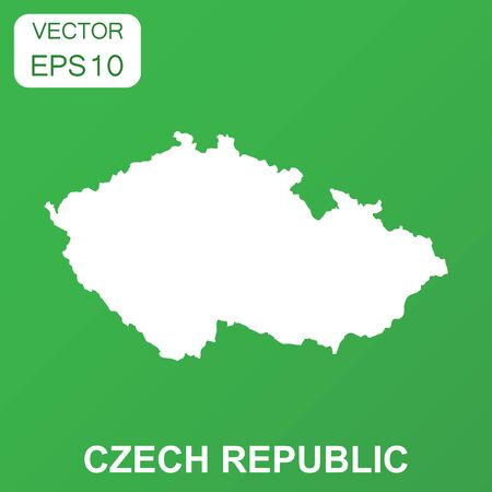 Czech Republic map icon. Business concept Czech Republic pictogram. Vector illustration on green background. 向量圖像