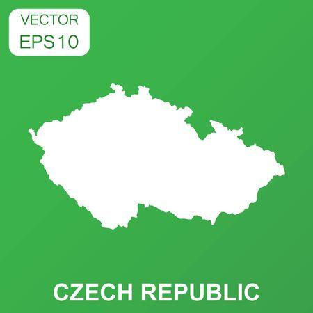 Czech Republic map icon. Business concept Czech Republic pictogram. Vector illustration on green background. 版權商用圖片 - 86295736
