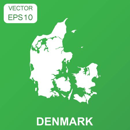 Denmark map icon. Business concept Denmark pictogram. Vector illustration on green background. Ilustrace