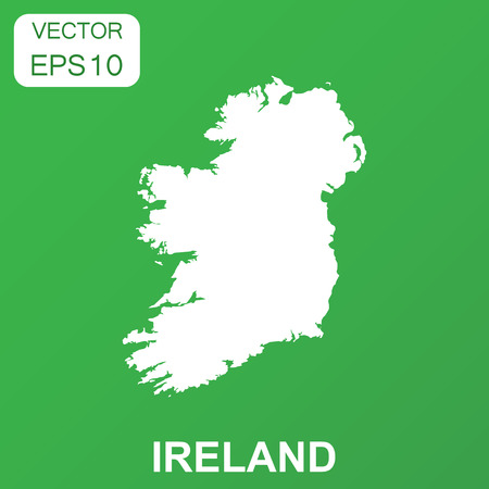 Ireland map icon. Business concept Ireland pictogram. Vector illustration on green background.