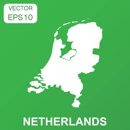 Nederland kaartpictogram. Bedrijfsconcept Nederland pictogram. Vectorillustratie op groene achtergrond.