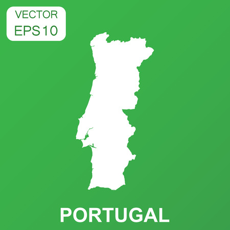 Portugal map icon. Business concept Portugal pictogram. Vector illustration on green background.