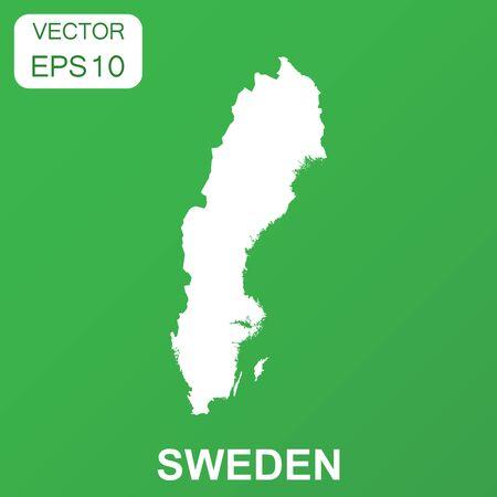 Sweden map icon. Business concept Sweden pictogram. Vector illustration on green background. Ilustrace