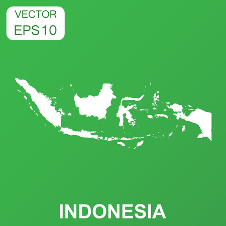 Indonesia map icon. Business concept Indonesia pictogram. Vector illustration on green background.