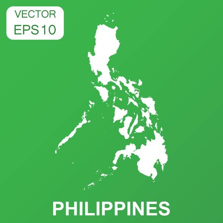 Philippines map icon. Business concept Philippines pictogram. Vector illustration on green background.