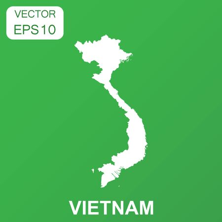 Vietnam map icon. Business concept Vietnam pictogram. Vector illustration on green background.