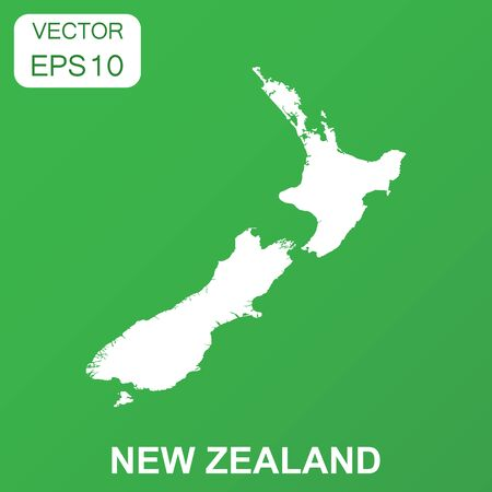 New Zealand map icon. Business concept New Zealand pictogram. Vector illustration on green background.