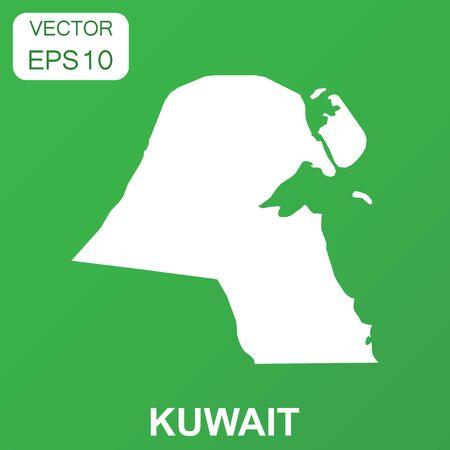 Koeweit kaartpictogram. Bedrijfsconcept Koeweit pictogram. Vectorillustratie op groene achtergrond. Stock Illustratie