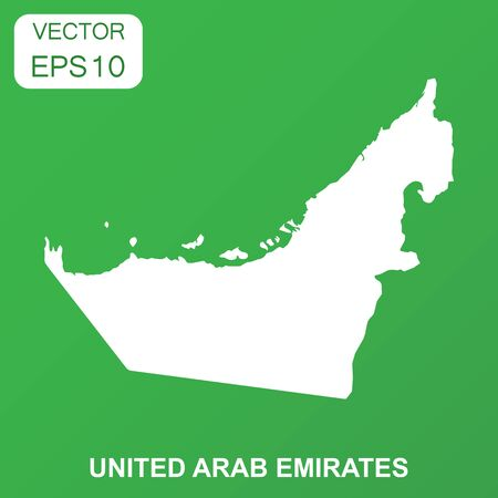 United Arab Emirates map icon. Business concept Arab Emirates pictogram. Vector illustration on green background.