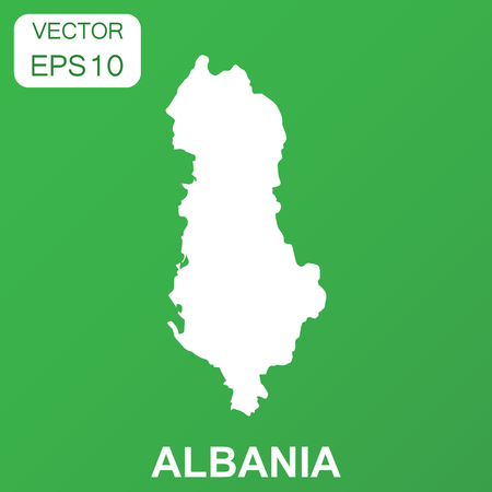 Albania map icon. Business concept Albania pictogram. Vector illustration on green background. Ilustrace
