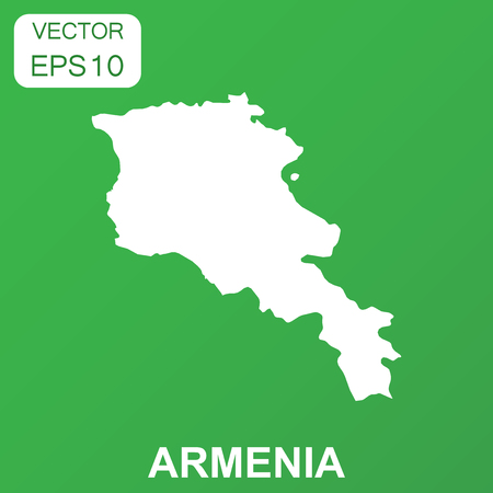 Armenia map icon. Business concept Armenia pictogram. Vector illustration on green background.