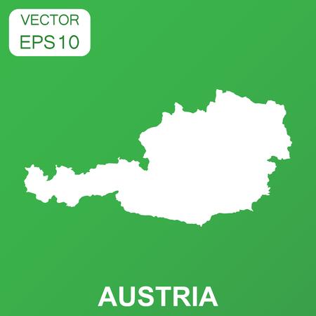 オーストリア地図アイコン。ビジネス概念オーストリア ピクトグラム。緑の背景のベクトル図です。