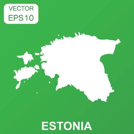 エストニア地図アイコン。ビジネス コンセプトのエストニアのピクトグラム。緑の背景のベクトル図です。