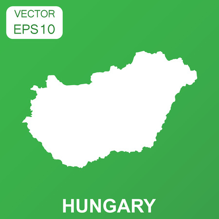 Hungary map icon. Business concept Hungary pictogram. Vector illustration on green background.
