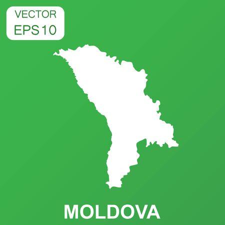 Moldova map icon. Business concept Moldova pictogram. Vector illustration on green background.