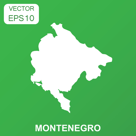Montenegro map icon. Business concept Montenegro pictogram. Vector illustration on green background.