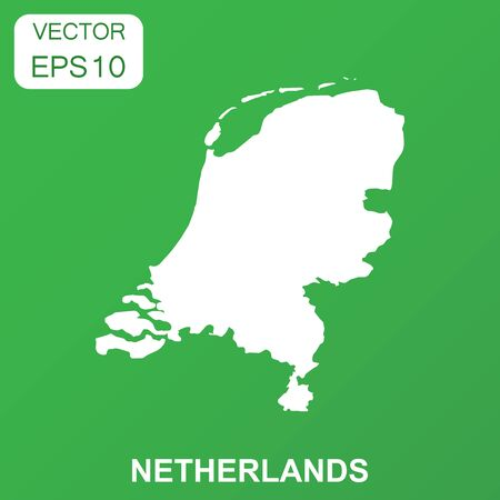 Netherlands map icon. Business concept Netherlands pictogram. Vector illustration on green background.