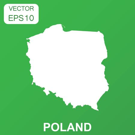 Poland map icon. Business concept Poland pictogram. Vector illustration on green background. Ilustrace