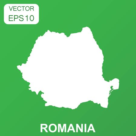 Romania map icon. Business concept Romania pictogram. Vector illustration on green background.