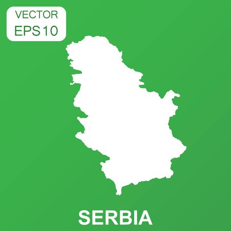 Serbia map icon. Business concept Serbia pictogram. Vector illustration on green background. Imagens - 86945735