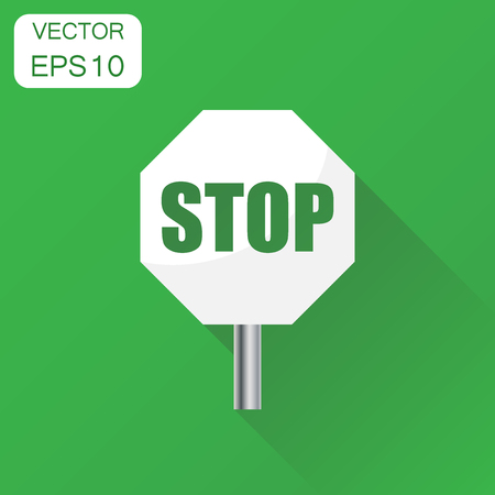 Red stop sign icon. Business concept danger symbol pictogram. Vector illustration on green background with long shadow.