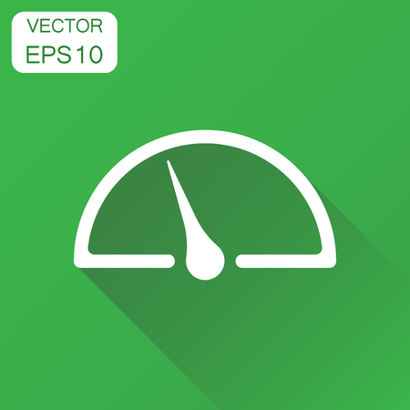 Dashboard icon. Business concept level meter speed pictogram. Vector illustration on green background with long shadow.