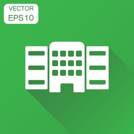 Gebäude-Symbol. Geschäftskonzept, das Piktogramm aufbaut. Vektor-Illustration auf grünem Hintergrund mit langen Schatten. Standard-Bild - 86895875