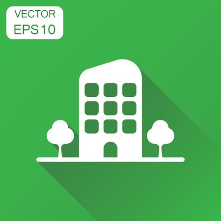 Gebäude mit Baumsymbol. Geschäftskonzept Gebäude Piktogramm. Vektorillustration auf grünem Hintergrund mit langem Schatten. Standard-Bild - 86895877