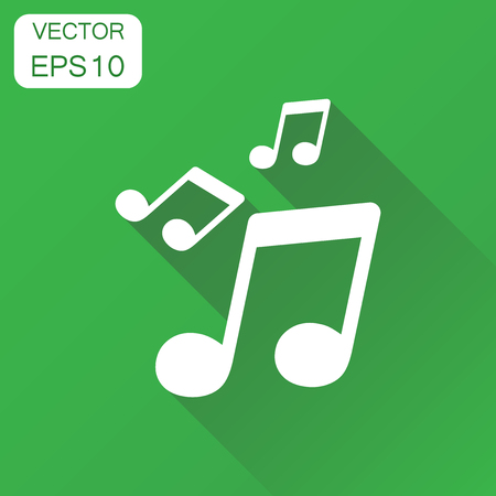 Music note icon. Business concept sound note pictogram. Vector illustration on green background with long shadow.