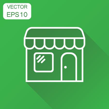 Winkel marktpictogram. Business concept winkel bouwen pictogram. Vectorillustratie op groene achtergrond met lange schaduw.
