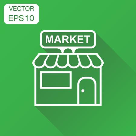 Tienda de icono de mercado. Pictograma de compilación de negocio concepto tienda. Ilustración de vector sobre fondo verde con una larga sombra. Foto de archivo - 86895908