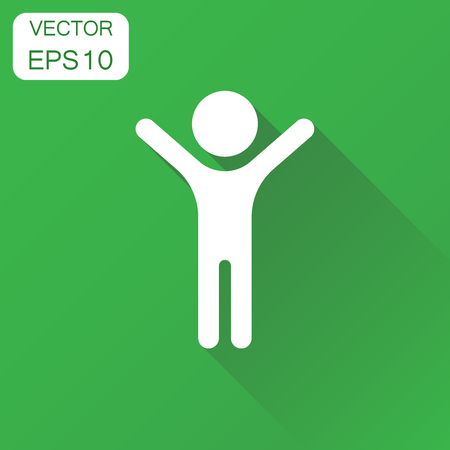 Happy man with hands up icon Vettoriali