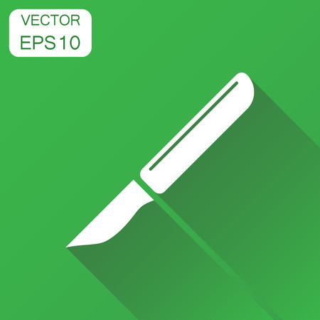 Medical scalpel icon. Business concept hospital surgery knife pictogram. Vector illustration on green background with long shadow.