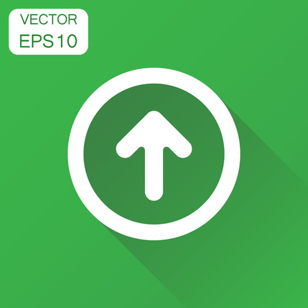 Arrow up icon. Business concept forward arrow pictogram. Vector illustration on green background with long shadow.