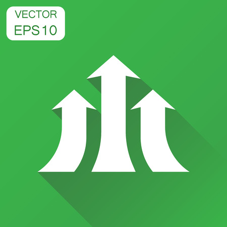 Arrow growing graph icon. Business concept progress arrow grow pictogram. Vector illustration on green background with long shadow.