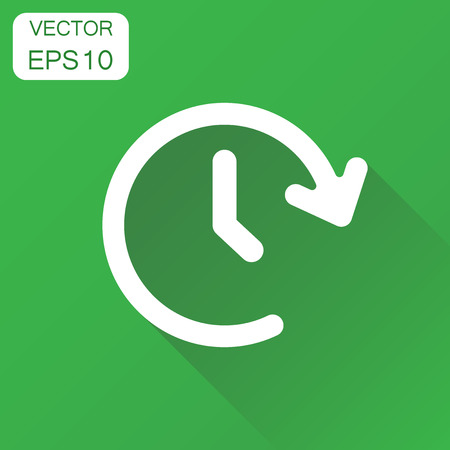 Clock time icon. Business concept timer 24 hours pictogram. Vector illustration on green background with long shadow.