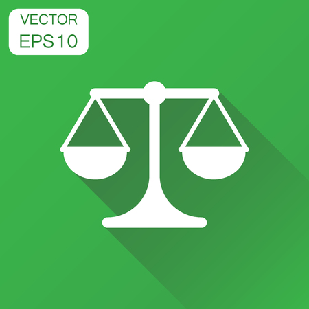 bathroom scale: Scale weigher icon. Business concept weigher, balance sign pictogram. Vector illustration on green background with long shadow.